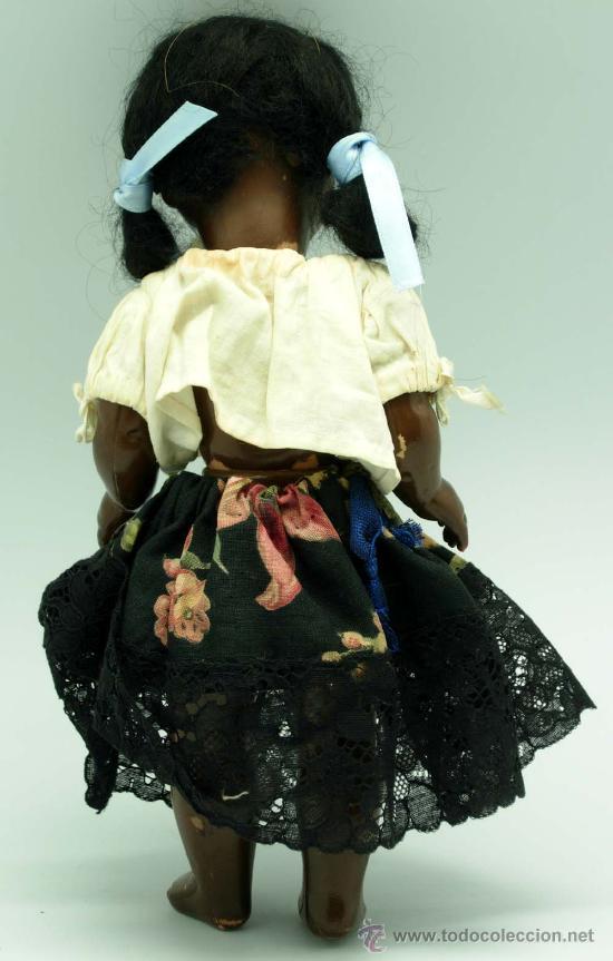 Muñeca española clasica: Muñeca negra celuloide ojo durmiente años 50 25 cm alto - Foto 4 - 20776084