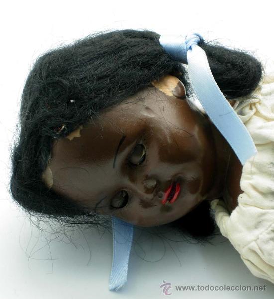 Muñeca española clasica: Muñeca negra celuloide ojo durmiente años 50 25 cm alto - Foto 5 - 20776084