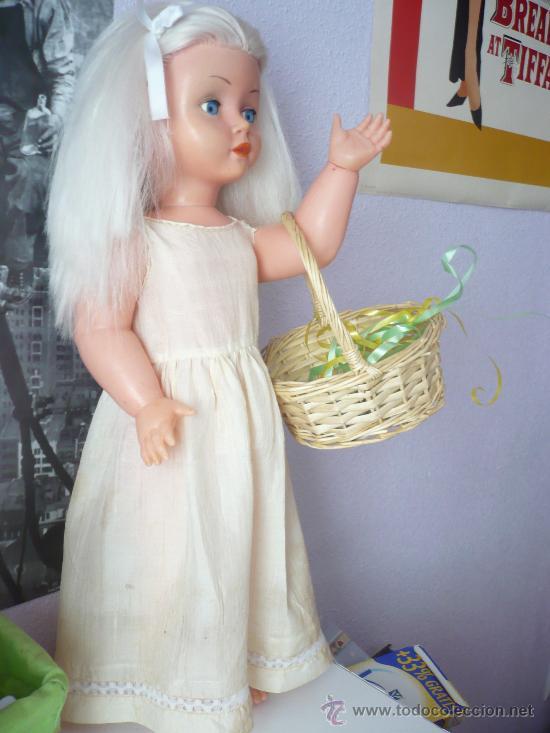 Muñeca española clasica: PRECIOSA MUÑECA ANTIGUA AÑOS 50-60 DE JESMAR, rubia ojos azules margarita VER FOTOS! regalo vestido - Foto 2 - 28244029