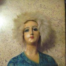 Muñeca española clasica: ANTIGUO BUSTO DE MUJER MUÑECA EN TERRACOTA COLOREADO. Lote 29532507