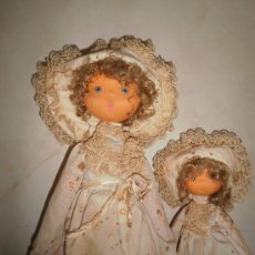 Muñeca española clasica: ANTIGUAS MUÑECAS CARA DE FIELTRO-2 HERMANAS-AÑOS 50. Lote 30028193