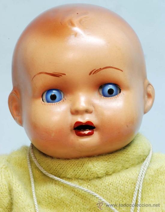 Muñeca española clasica: Bebe terracota ojo durmiente de cristal cuerpo prensado años 40 50 32 cm alto - Foto 2 - 32246911