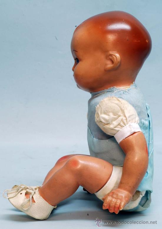 Muñeca española clasica: Bebe terracota ojo durmiente de cristal cuerpo prensado años 40 50 32 cm alto - Foto 5 - 32246911