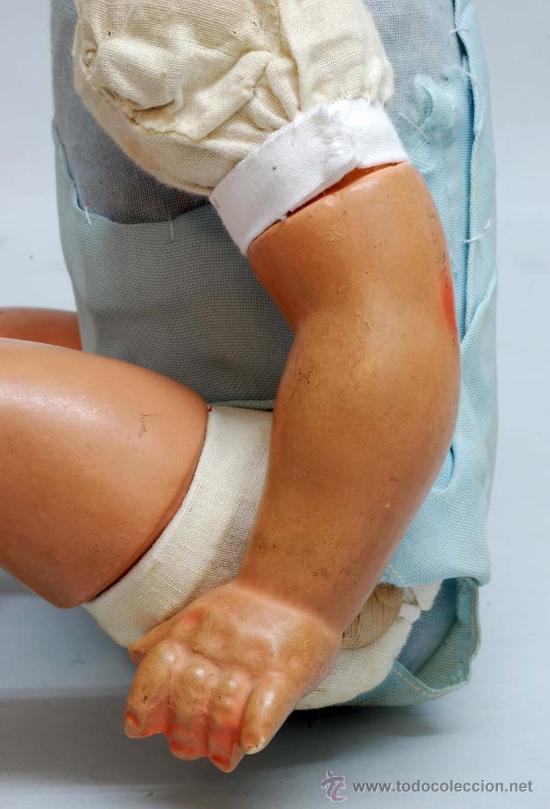 Muñeca española clasica: Bebe terracota ojo durmiente de cristal cuerpo prensado años 40 50 32 cm alto - Foto 6 - 32246911
