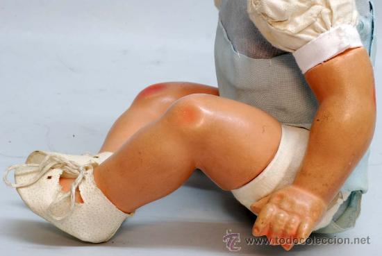 Muñeca española clasica: Bebe terracota ojo durmiente de cristal cuerpo prensado años 40 50 32 cm alto - Foto 7 - 32246911