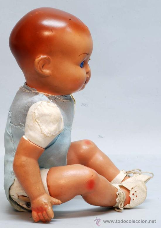 Muñeca española clasica: Bebe terracota ojo durmiente de cristal cuerpo prensado años 40 50 32 cm alto - Foto 8 - 32246911