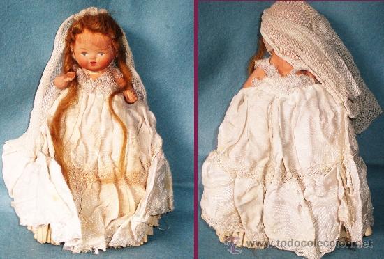 Muñeca española clasica: ANTIGUA MUÑEQUITA DE COMUNION EN TERRACOTA Y VESTIDO ORIGINAL 15 CM. AÑOS 1935-1940 - Foto 2 - 36905280