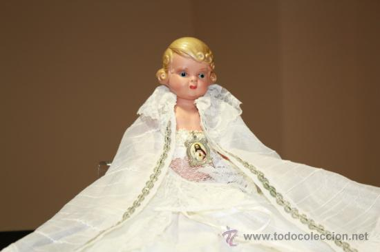 Muñeca española clasica: Muñeco celuloide antiguo Querubin con ropa de acristianar.Marca JC-SA años 50-60 - Foto 7 - 37556442
