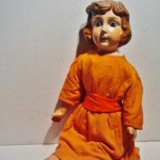 Muñeca española clasica: MAGNÍFICA MUÑECA DE CARTÓN PIEDRA DE GRAN TAMAÑO ARTICULADA. VESTIDO ORIGINAL. ZAPATOS DE PIEL.. Lote 39601766
