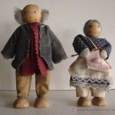 Muñeca española clasica: PAREJA DE ABUELOS PARA CASA DE MUÑECAS DE MADERA,TRAPO Y ALAMBRE AÑOS 60-70. Lote 39838247