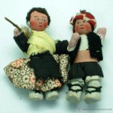 Muñeca española clasica: PAREJA MUÑECOS TRAJE REGIONAL ARAGÓN ZARAGOZA MAÑOS FIELTRO TRAPO AÑOS 50 10 CM ALTO. Lote 41130365