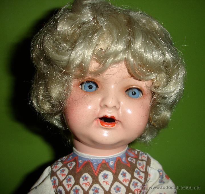 Muñeca española clasica: Muñeca antigua de carton piedra años 40, ojos durmientes !! - Foto 2 - 41370234