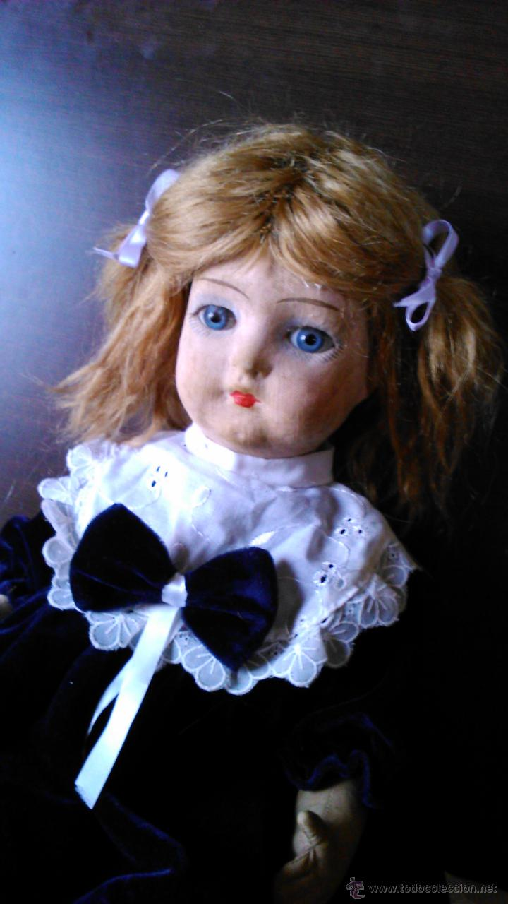 Muñeca española clasica: Antigua muñeca PAGES de cartón piedra,pastas,tejido rellena de serrín .Ojos de cristal. - Foto 3 - 43275349