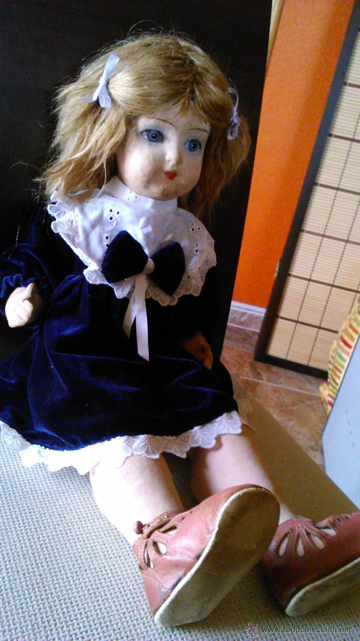 Muñeca española clasica: Antigua muñeca PAGES de cartón piedra,pastas,tejido rellena de serrín .Ojos de cristal. - Foto 4 - 43275349