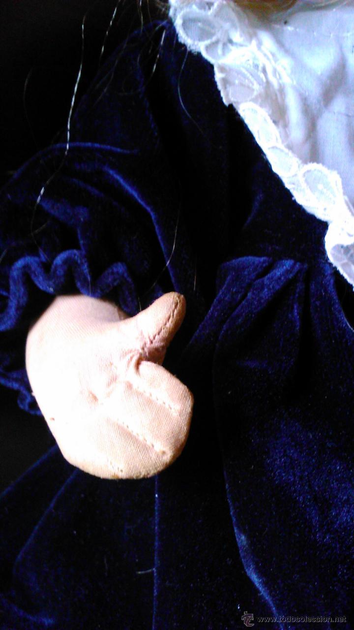 Muñeca española clasica: Antigua muñeca PAGES de cartón piedra,pastas,tejido rellena de serrín .Ojos de cristal. - Foto 5 - 43275349