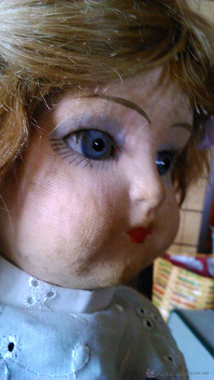 Muñeca española clasica: Antigua muñeca PAGES de cartón piedra,pastas,tejido rellena de serrín .Ojos de cristal. - Foto 6 - 43275349