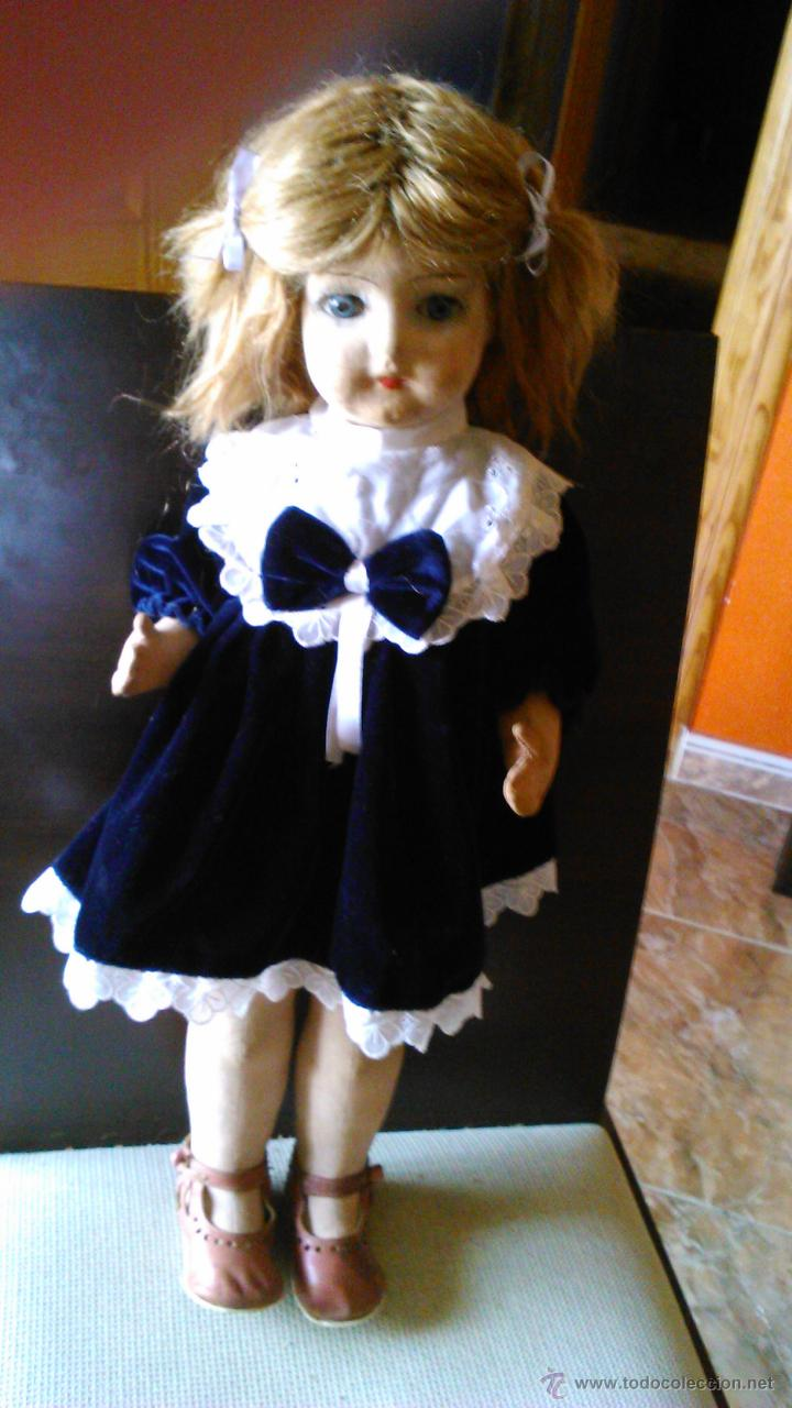 Muñeca española clasica: Antigua muñeca PAGES de cartón piedra,pastas,tejido rellena de serrín .Ojos de cristal. - Foto 7 - 43275349