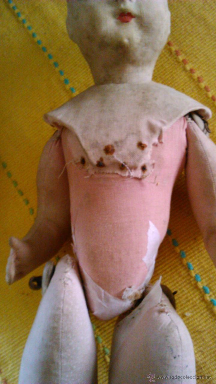 Muñeca española clasica: Antigua muñeca PAGES de cartón piedra,pastas,tejido rellena de serrín .Ojos de cristal. - Foto 12 - 43275349
