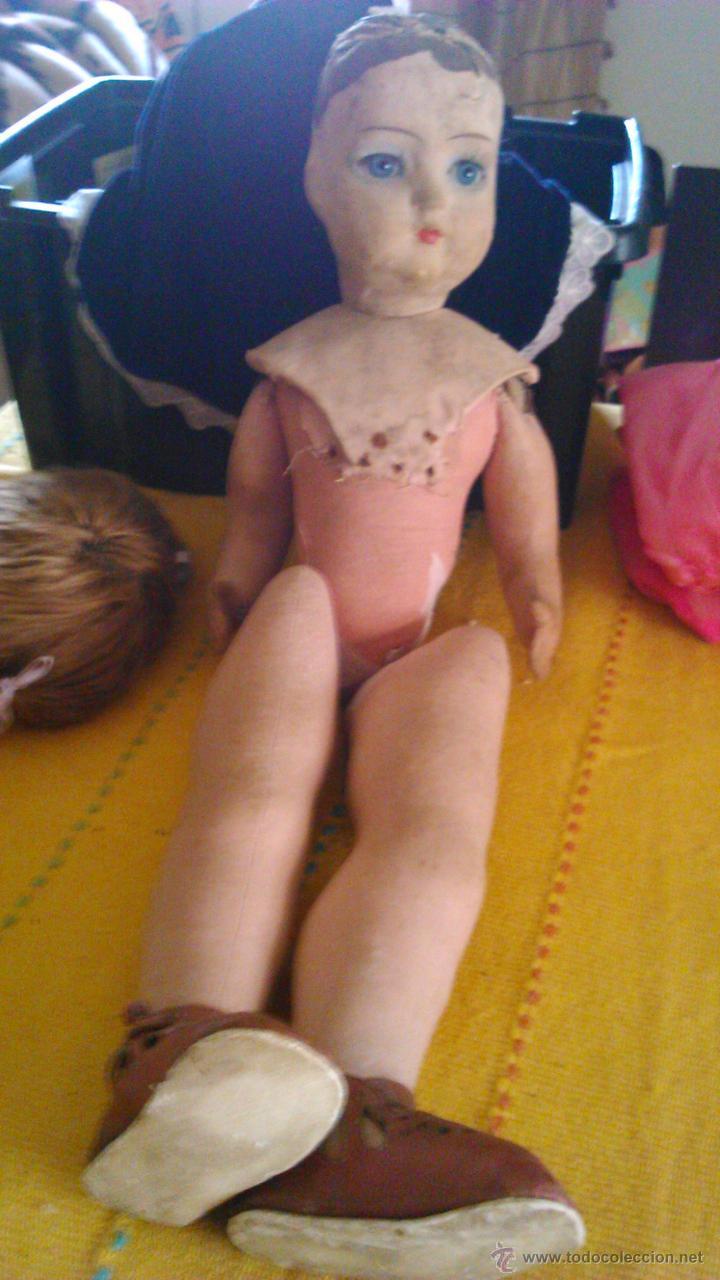 Muñeca española clasica: Antigua muñeca PAGES de cartón piedra,pastas,tejido rellena de serrín .Ojos de cristal. - Foto 18 - 43275349