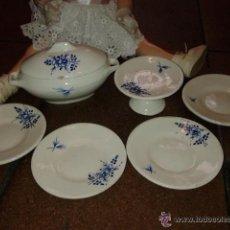 Antiguo Juego de loza fuente, frutero y platos Escala para Mariquita Perez. LA MUÑECA NO SE INCLUYE