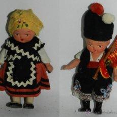 Muñeca española clasica: PAREJA DE MUÑECOS CON TRAJE REGIONAL GALLEGO, REALIZADAS EN TERRACOTA, GALICIA, MIDEN 13 CMS.. Lote 43857263
