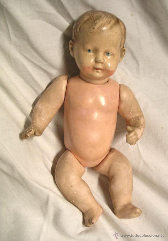 Muñeca española clasica: Niño Bebé Estuco Patinado textura porcelana. Med. 25 cm altura - Foto 3 - 44025521