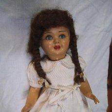 Muñeca española clasica: MUÑECA CARTÓN PIEDRA AÑOS 50 , VESTIDO ANTIGUO , CABELLO NATURAL , OJOS DURMIENTES. Lote 44853229