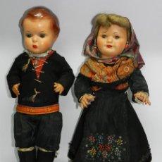 Muñeca española clasica: PAREJA DE MUÑECOS ESPAÑOLES MARICELA Y ARTURITO, AÑOS 40. COETANEOS DE MARIQUITA PÉREZ , TRAJE DE LE. Lote 44877963