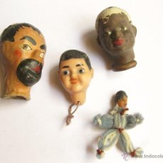 Muñeca española clasica: TRES CABEZAS ANTIGUAS DE CELULOIDE Y CARTON MAS UN MUÑECO DE CHARLOT. Lote 45110993