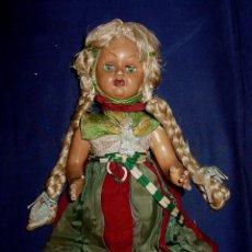 Muñeca española clasica: MUÑECA DE COMPOSICION, CARTON Y CELULOIDE. IRIS MARGARITA. SEDA. PELO NATURAL. CIRCA 1920-40.. Lote 45360845