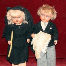 Muñeca española clasica: PAREJA DE MUÑECOS DE BAUTIZO EN CARTÓN PIEDRA. AÑOS 40.. Lote 50034684