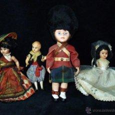 Muñeca española clasica: LOTE DE 4 ANTIGUAS MUÑECAS PLÁSTICO DURO Y/O CELULOIDE AÑOS 50. INTERESANTES. Lote 45619792