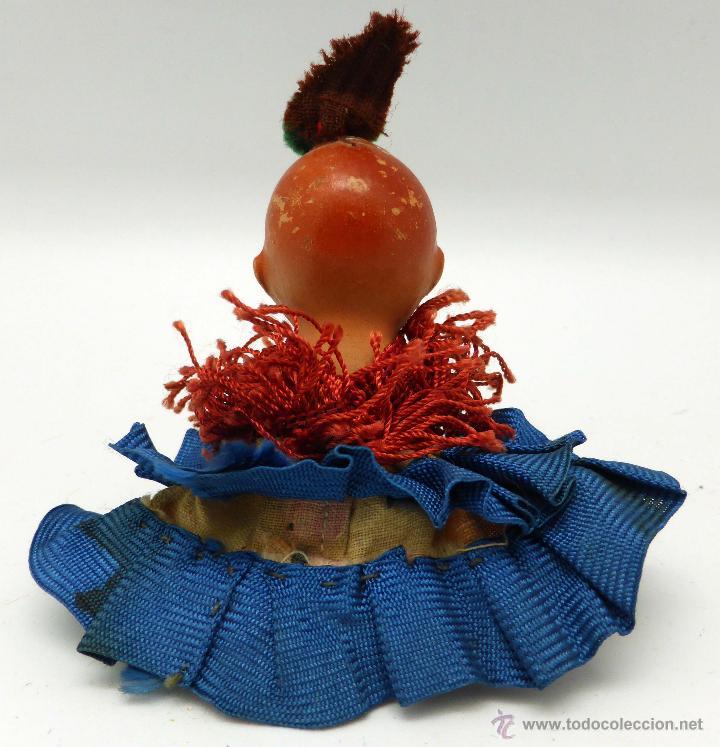 Muñeca española clasica: Muñeco bebé terracota con ropa original sevillana flamenca años 40 - 50 9 cm - Foto 3 - 45686108