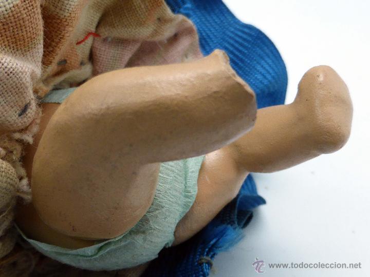 Muñeca española clasica: Muñeco bebé terracota con ropa original sevillana flamenca años 40 - 50 9 cm - Foto 5 - 45686108