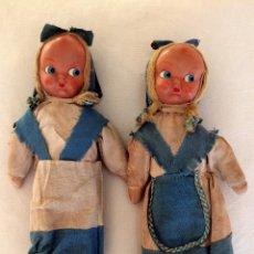 Muñeca española clasica: PAREJA DE PRECIOSAS MUÑECAS AÑOS 50, CABEZA DE CELULOIDE, CUERPO DE TRAPO. Lote 46895790