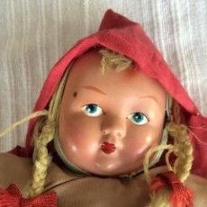 Muñeca española clasica: MUÑECA AÑOS 50, CARA DE CELULOIDE PINTADA A MANO, CUERPO DE TRAPO. Lote 46915427