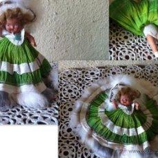 Muñeca española clasica: MUÑECA DE TERRACOTA RUBIA VESTIDO DE PAPEL AÑOS 30 TODA DE ORIGEN MIDE 14 CM DE ALTO. Lote 50208691