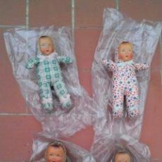 Muñeca española clasica: LOTE 4 MUÑECOS BEBES CELULOIDE Y TRAPO AÑOS 40. Lote 52138351