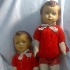 Muñeca española clasica: PEPONES.- INTERESANTE PAREJA DE MELLIZOS, EN CARTÓN PIEDRA, ORIGINALES.. Lote 52719649