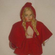 Muñeca española clasica: ANTIGUA MUÑECA REALIZADA EN LIENZO RELLENO, CON OJO DECORADO TIPO LENCI Y VESTIDO DE CAPERUCITA ROJA. Lote 53544065