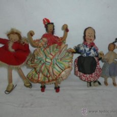 Muñeca española clasica: LOTE DE 4 MUÑECA MUY ANTIGUAS, DE TRAPO O FIELTRO, ORIGINALES, VER FOTOS, ANTIGUA. Lote 54128322