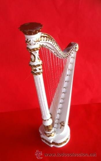 Muñeca española clasica: Bonita arpa blanca, para casa muñecas o decoración, - Foto 2 - 54785239