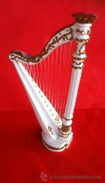 Muñeca española clasica: Bonita arpa blanca, para casa muñecas o decoración, - Foto 3 - 54785239