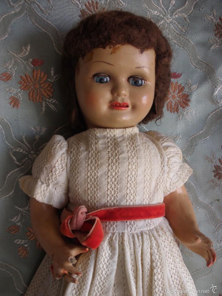 Muñeca española clasica: ANTIGUA MUÑECA CARTÓN PIEDRA AÑOS 50 MARCA LL M ESTILIZADA ESTILO PALOMITA MADRID - Foto 3 - 55701266