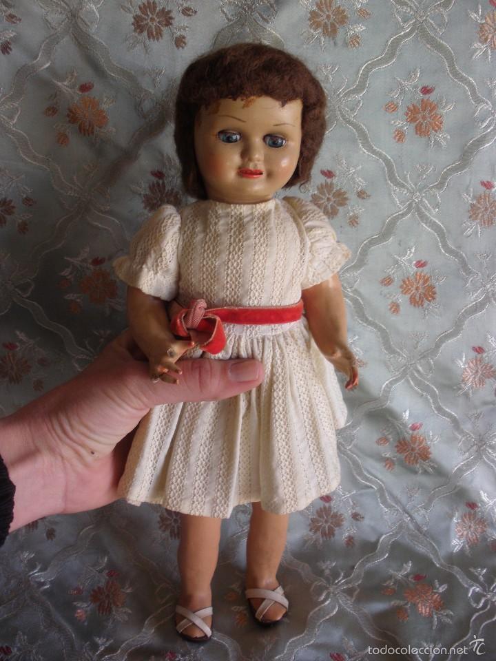 Muñeca española clasica: ANTIGUA MUÑECA CARTÓN PIEDRA AÑOS 50 MARCA LL M ESTILIZADA ESTILO PALOMITA MADRID - Foto 13 - 55701266