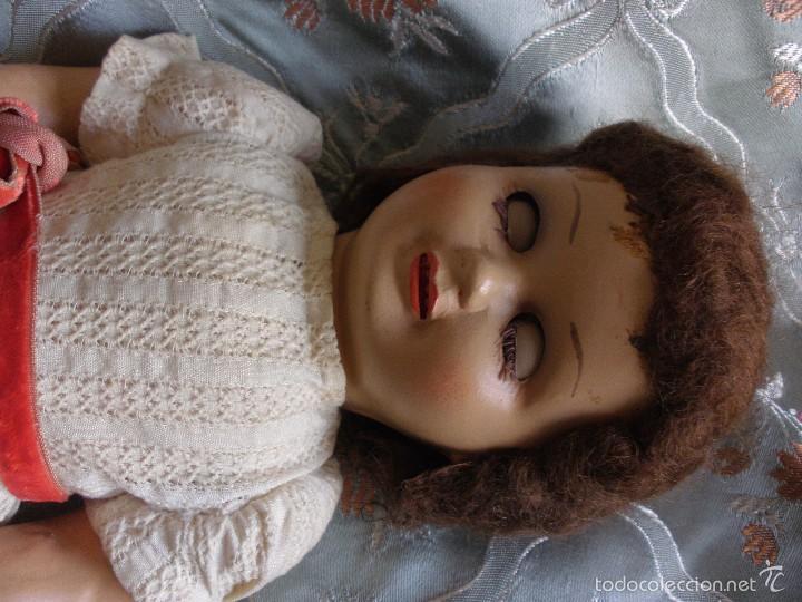 Muñeca española clasica: ANTIGUA MUÑECA CARTÓN PIEDRA AÑOS 50 MARCA LL M ESTILIZADA ESTILO PALOMITA MADRID - Foto 17 - 55701266
