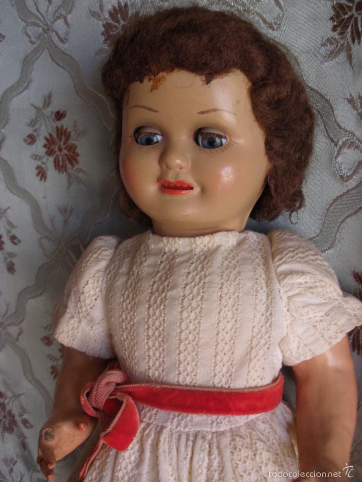Muñeca española clasica: ANTIGUA MUÑECA CARTÓN PIEDRA AÑOS 50 MARCA LL M ESTILIZADA ESTILO PALOMITA MADRID - Foto 20 - 55701266
