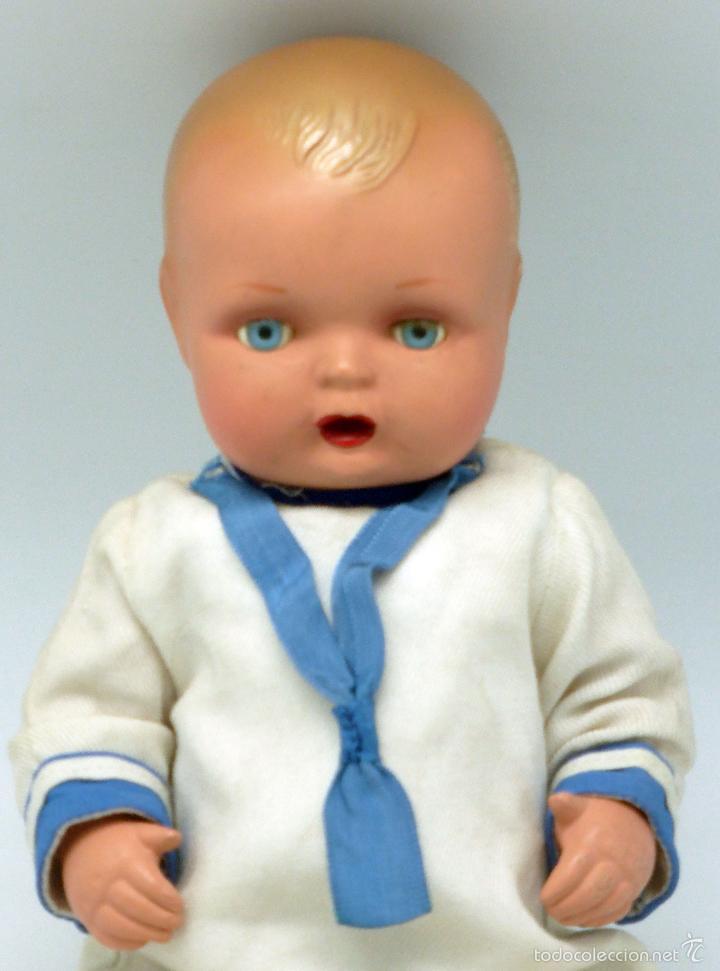Muñeca española clasica: Bebé marinero celuloide ojo pintado JC SA ICSA marca espalda años 30 28 cm alto - Foto 2 - 55705691