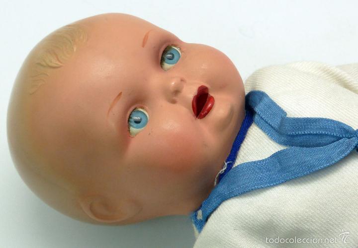 Muñeca española clasica: Bebé marinero celuloide ojo pintado JC SA ICSA marca espalda años 30 28 cm alto - Foto 4 - 55705691