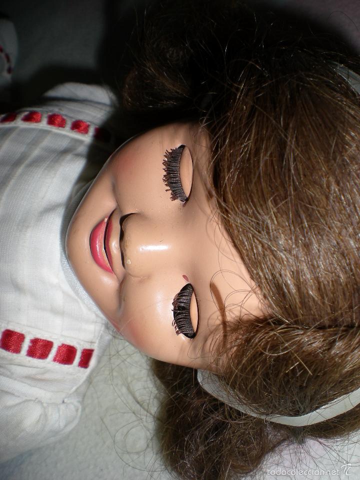 Muñeca española clasica: muñeca carton piedra de origen en pelo natural goyita marca las meninas onil años 50 - Foto 20 - 40878003